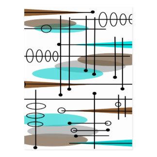 Diseño inspirado era atómica 13 de los mediados de tarjetas postales