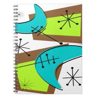 Diseño inspirado era atómica del bumerán cuaderno