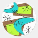 Diseño inspirado era atómica del bumerán etiqueta redonda
