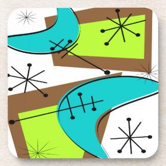 Diseño inspirado era atómica del bumerán posavasos