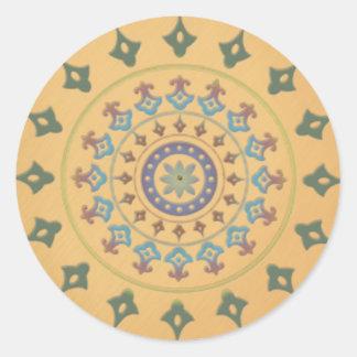 Diseño inspirado por la India Etiqueta Redonda