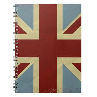 Diseño inspirado vintage de la bandera de Union Ja Libretas Espirales