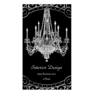 Diseño interior de plata elegante de Black Chandel Tarjetas De Visita
