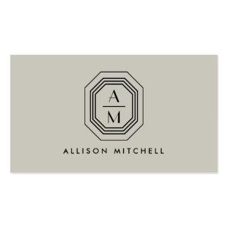 Diseño interior del monograma de color topo/negro tarjetas personales