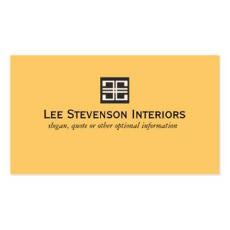 Diseño interior geométrico elegante amarillo tarjetas de visita