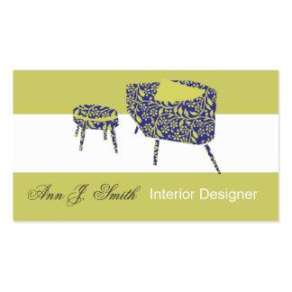 Diseño interior moderno elegante del verde de tarjetas de visita