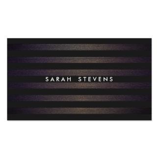 Diseño interior moderno rayado negro y de madera tarjetas de visita