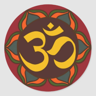 ¡Diseño interno de la paz del símbolo retro de OM! Pegatina Redonda