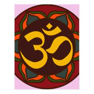 ¡Diseño interno de la paz del símbolo retro de OM! Postal