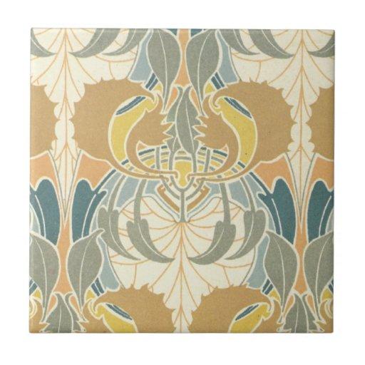diseño intrépido de la flora del nouveau del arte azulejos