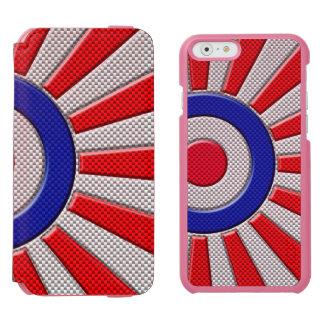 Diseño intrépido del resplandor solar de Roundel Funda Billetera Para iPhone 6 Watson