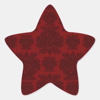 diseño intrépido rojo oscuro del damasco colcomanias forma de estrellas