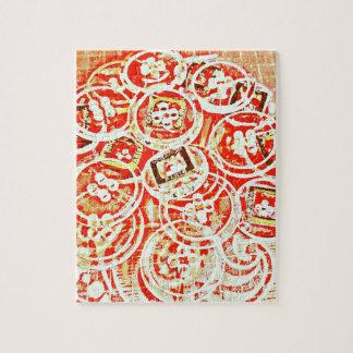 Diseño invisible del collage del botón puzzles con fotos