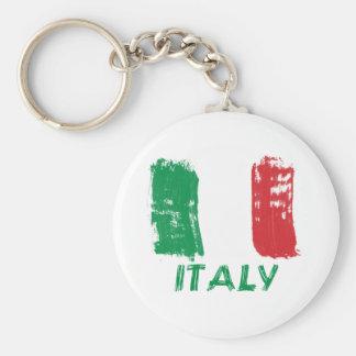Diseño italiano de la bandera del grunge llavero redondo tipo pin