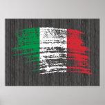 Diseño italiano fresco de la bandera poster