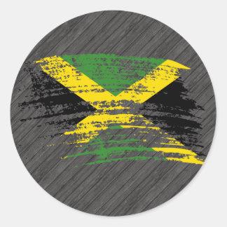 Diseño jamaicano fresco de la bandera pegatina redonda