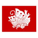 Diseño japonés de Kamon de la mariposa Postal