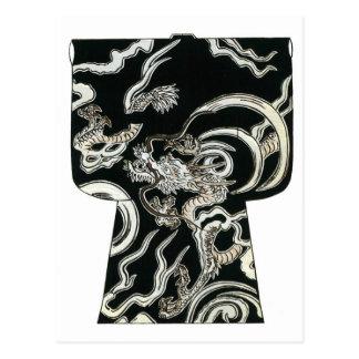 Diseño japonés de Woodblock del kimono Postales
