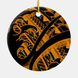diseño japonés del tatuaje con el modelo polinesio adorno redondo de cerámica