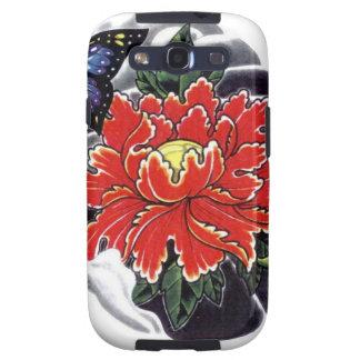 Diseño japonés del tatuaje de la flor del Peony Samsung Galaxy S3 Protectores