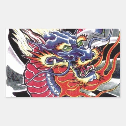 Diseño japonés del tatuaje del dragón azul pegatina rectangular