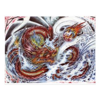 Diseño japonés del tatuaje del dragón postal