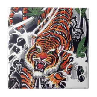 Diseño japonés del tigre y del arce azulejo cuadrado pequeño