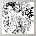diseño japonés hermoso del vector de la mujer impresiones