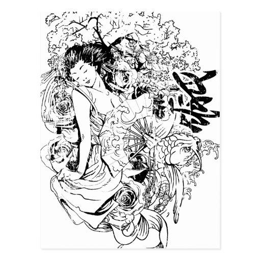 diseño japonés hermoso del vector de la mujer tarjetas postales