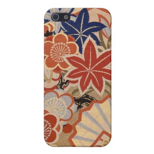 Diseño japonés tradicional de la tela iPhone 5 cárcasas
