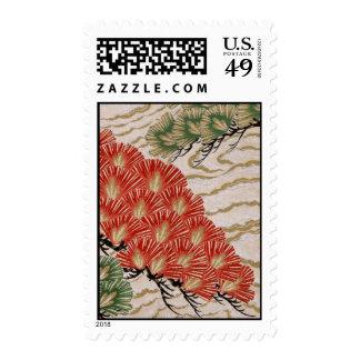Diseño japonés tradicional de la tela franqueo