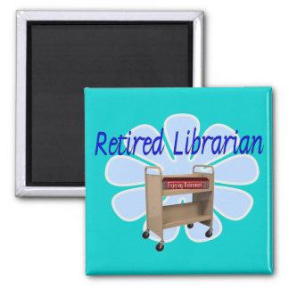 diseño jubilado del carro del libro del biblioteca imán cuadrado