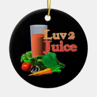 Diseño juicing del jugo del amor 2 en 100+ adorno redondo de cerámica