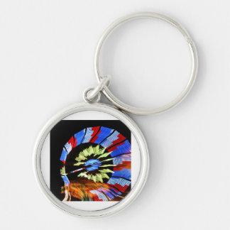 Diseño justo colorido del paseo, colores de neón e llavero redondo plateado