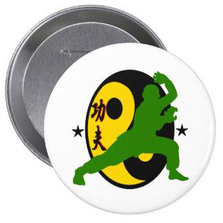 diseño Kfj-aprobado del botón de Kung Fu por el Pin Redondo De 4 Pulgadas