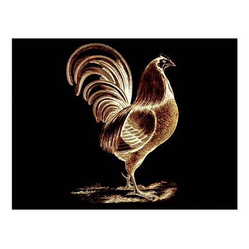 Diseño ligero alterado gallo de oro retro del postal