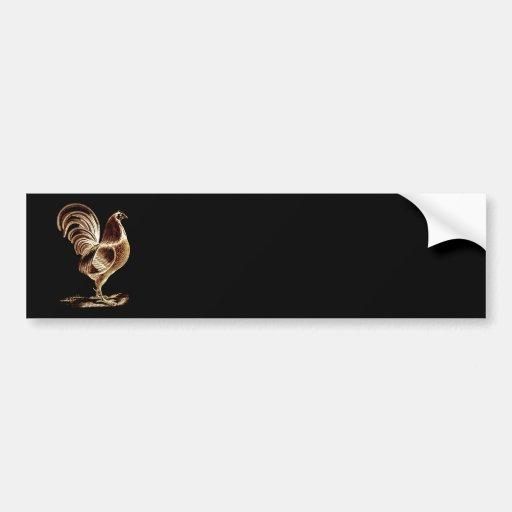 Diseño ligero alterado gallo de oro retro del vint pegatina de parachoque