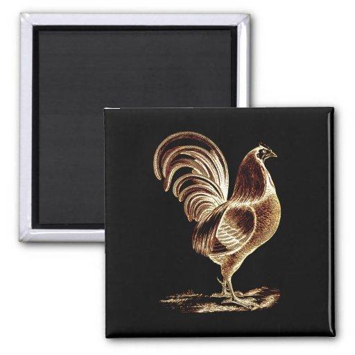 Diseño ligero alterado gallo de oro retro del vint imán de frigorífico
