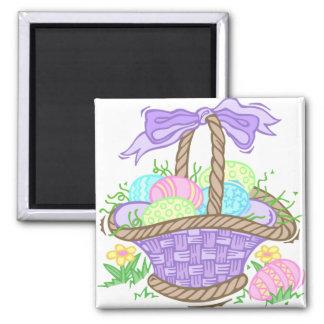 Diseño lindo de la cesta de Pascua Imán Cuadrado