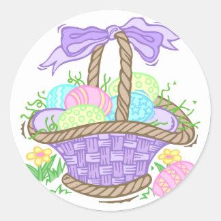 Diseño lindo de la cesta de Pascua Etiqueta Redonda