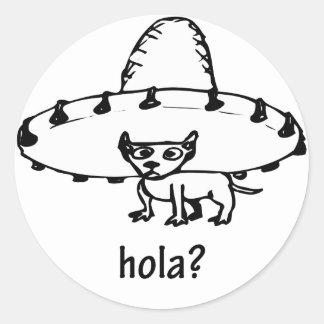 Diseño lindo de la chihuahua de Hola Pegatina Redonda