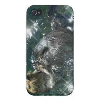 Diseño lindo de la nutria para los Animal-amantes iPhone 4 Cobertura