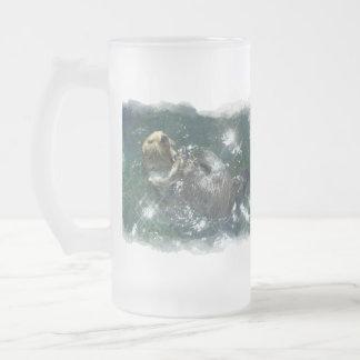 Diseño lindo de la nutria para los Animal-amantes Taza De Cristal