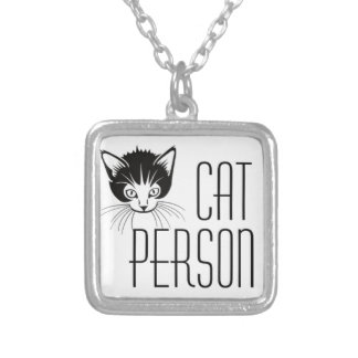 Diseño lindo de la persona del gato con el gato colgante cuadrado