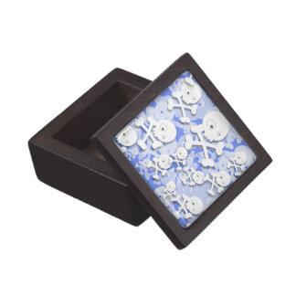 Diseño lindo de los cráneos en azul caja de joyas de calidad