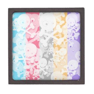 Diseño lindo de los cráneos en el arco iris cajas de recuerdo de calidad