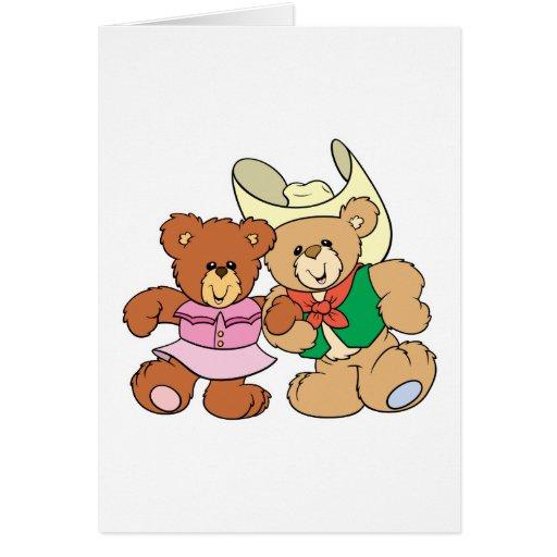diseño lindo de los osos de peluche del baile cuad tarjeton