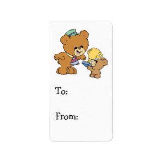 diseño lindo de los osos de peluche del padre más  etiquetas de dirección