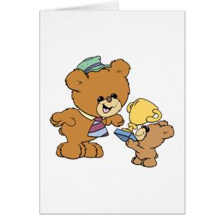 diseño lindo de los osos de peluche del padre más tarjeta de felicitación
