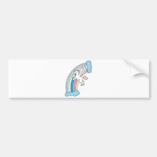 diseño lindo de Pegaso y del arco iris Etiqueta De Parachoque